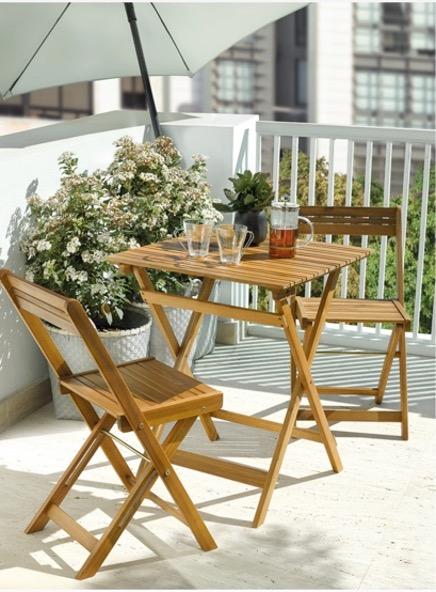 Decorar balcones pequeños con conjunto de balcón plegable